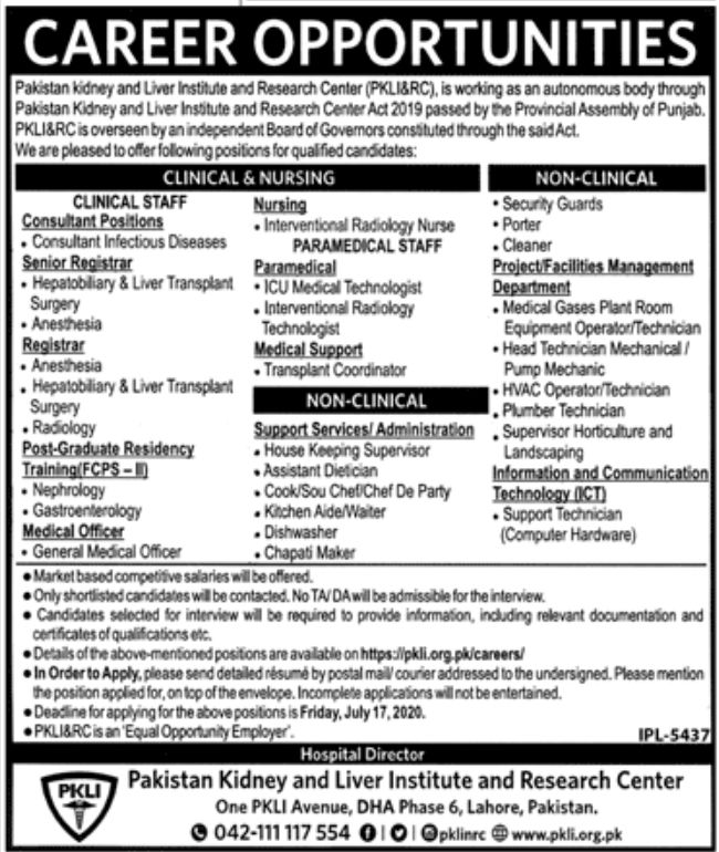Pakistan Kidney and Liver Institute and Research Center Jobs June 2020