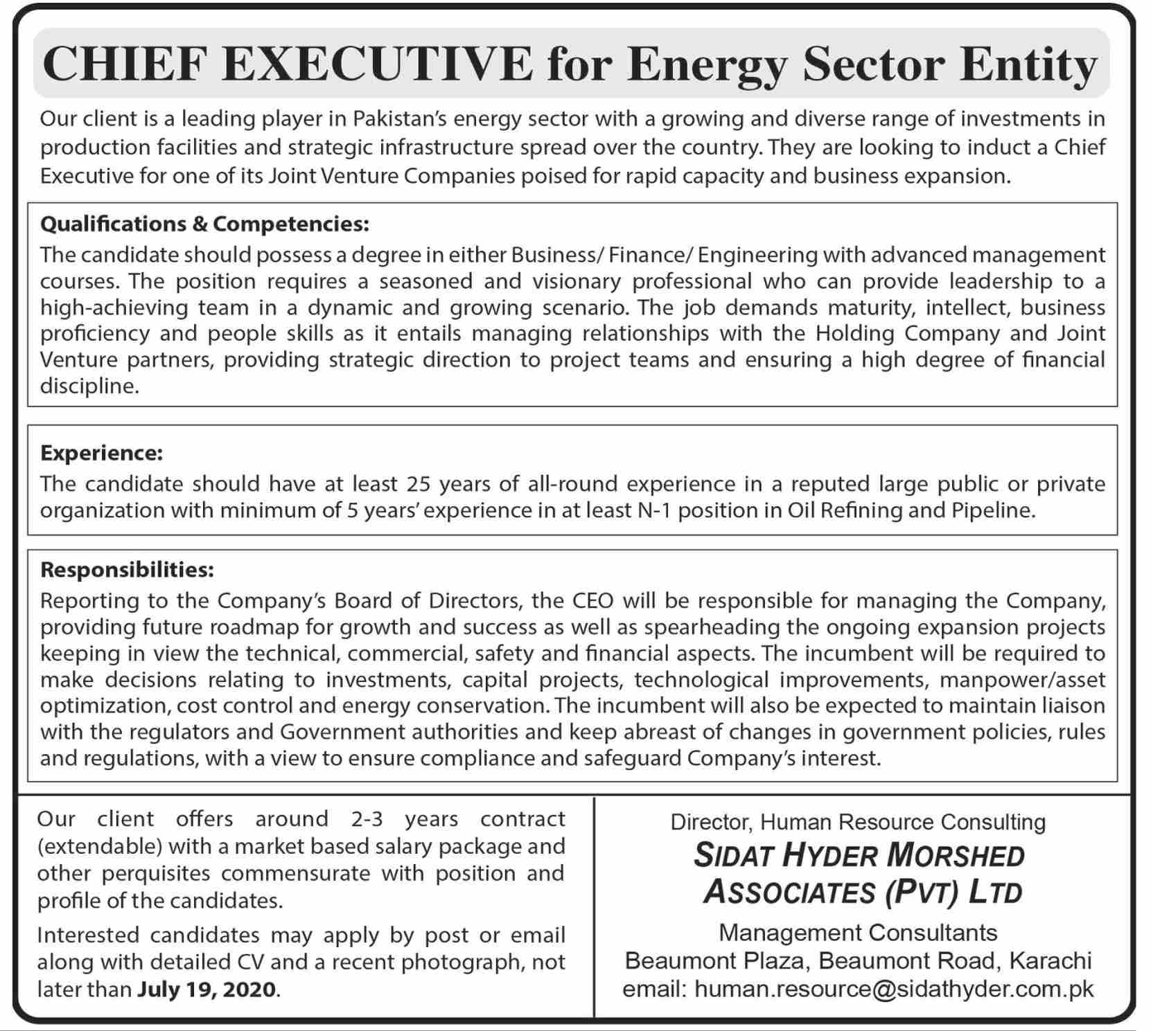 Pakistan's Energy Sector Jobs July 2020