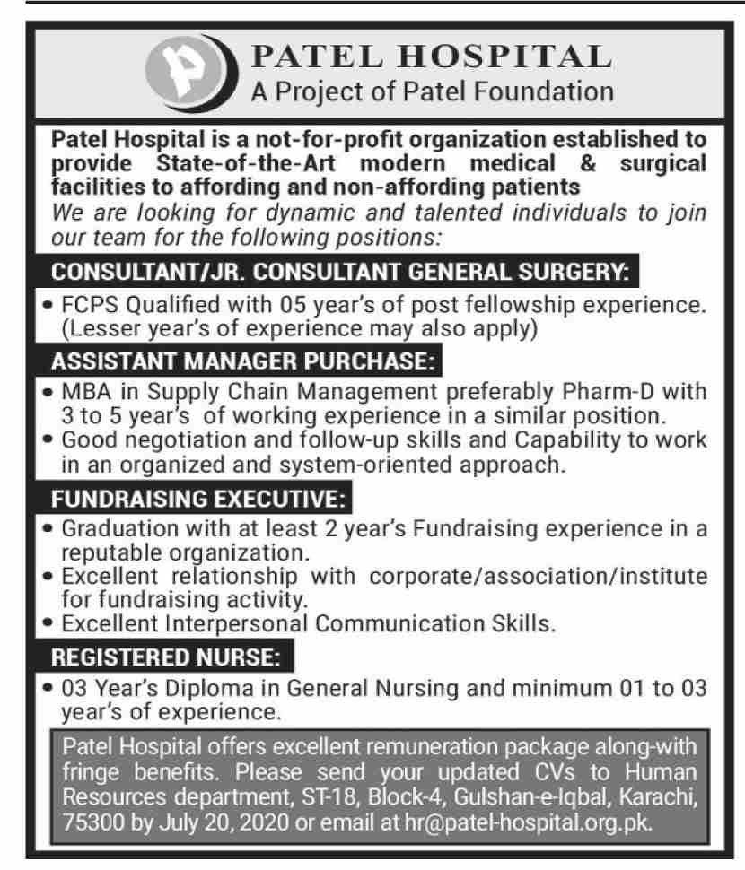 Patel Hospital Jobs June 2020