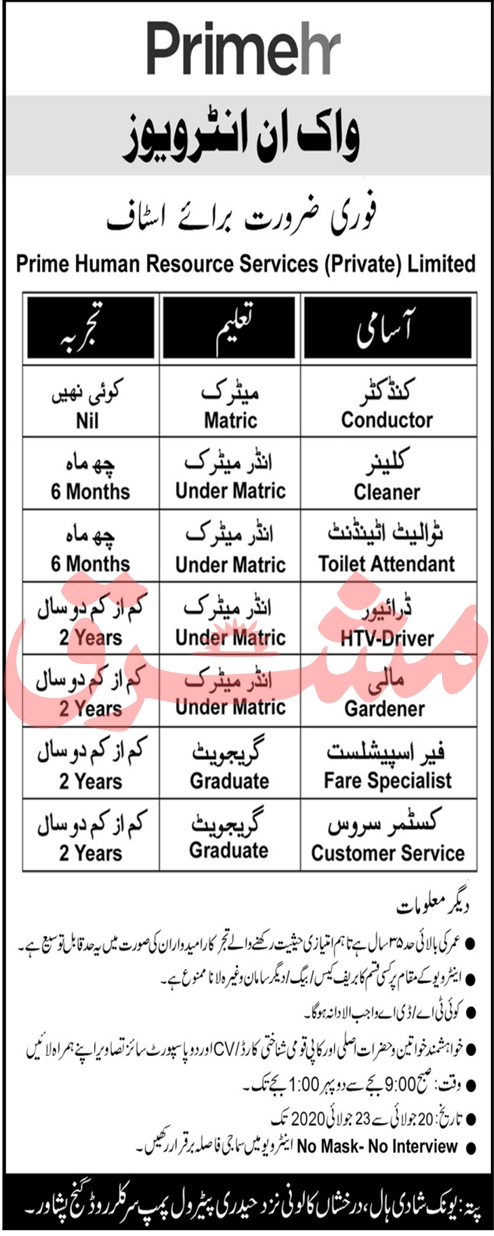 Prime Human Resource Services Private Limited Jobs July 2020