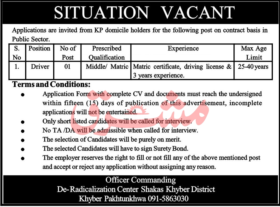 Public Sector Department KPK Jobs June 2020