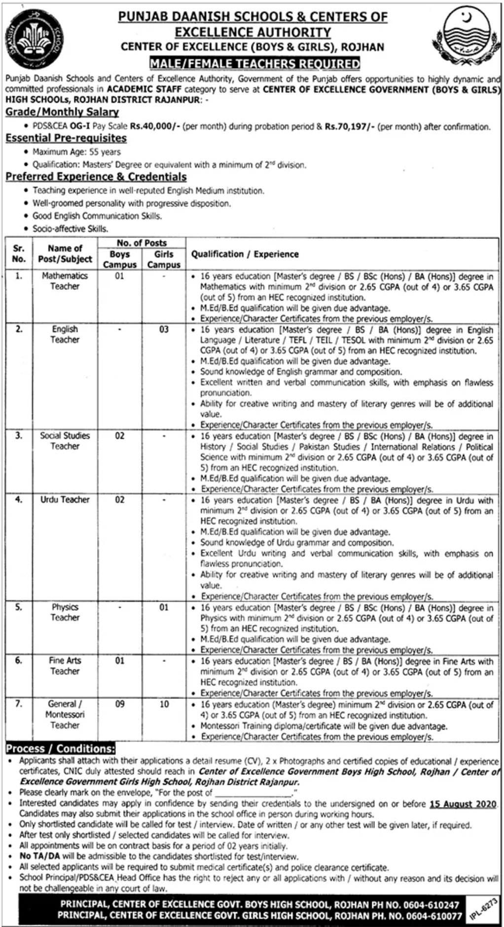 Punjab Daanish Schools & Centers of Excellence Authority Jobs July 2020
