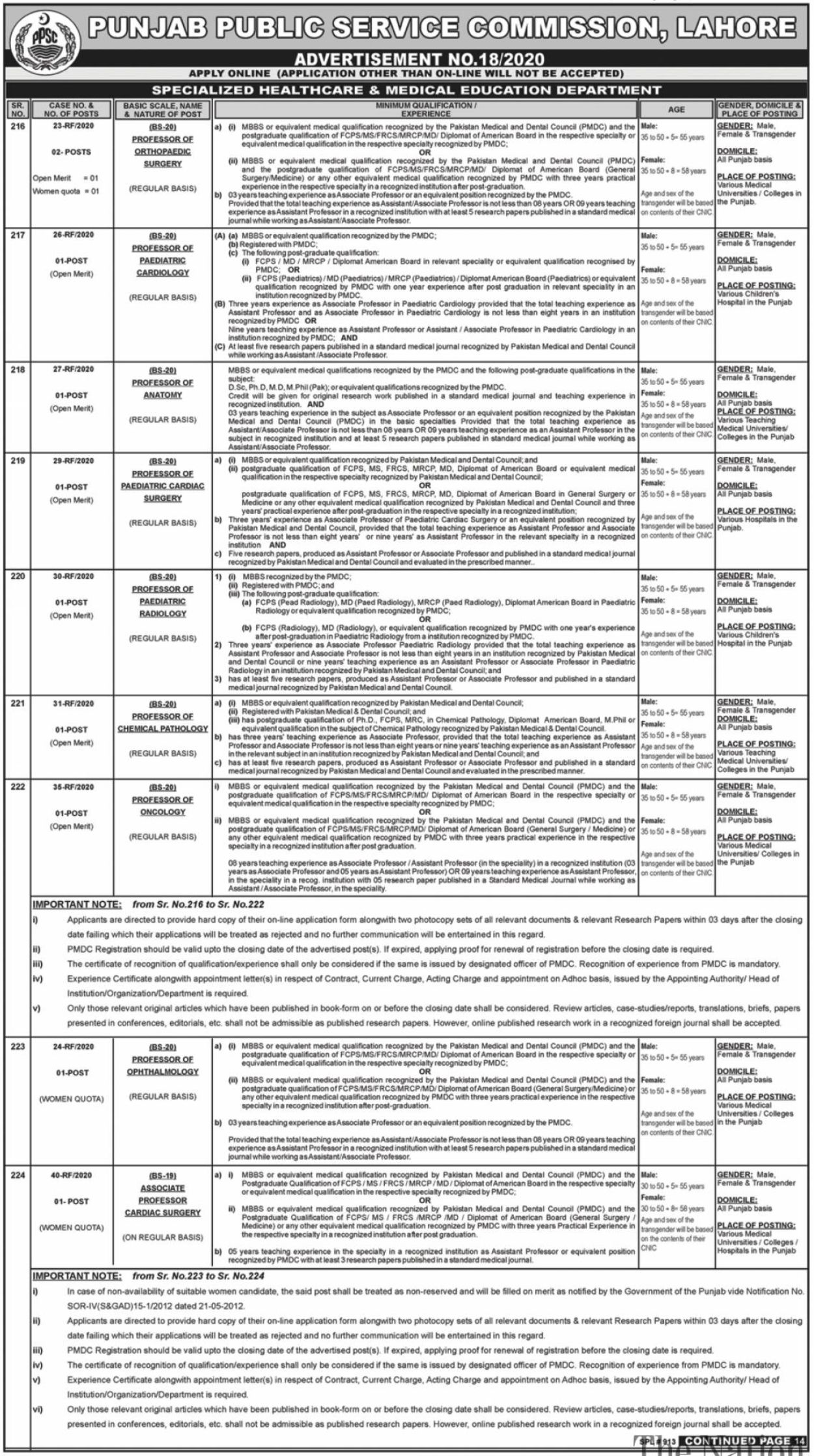 Punjab Public Service Commission Lahore Jobs July 2020 - 1