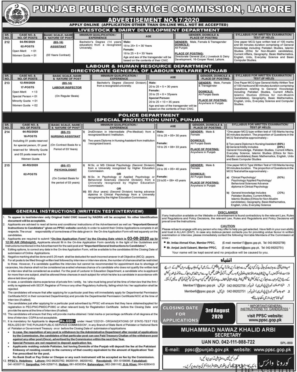 Punjab Public Service Commission PPSC Jobs July 2020