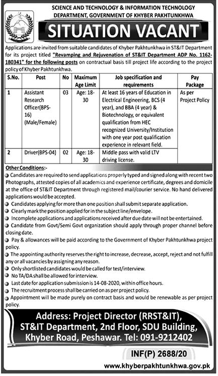 Science and Technology & information Technology Department Government of Khyber Pakhtunkhwa Jobs July 2020