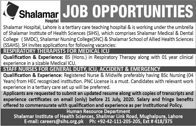 Shalamar Hospital Lahore Jobs June 2020