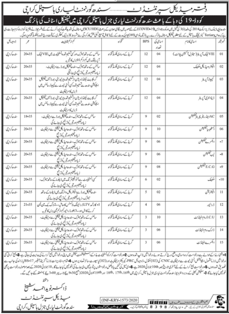 Sindh Government Lyari Hospital Jobs June 2020