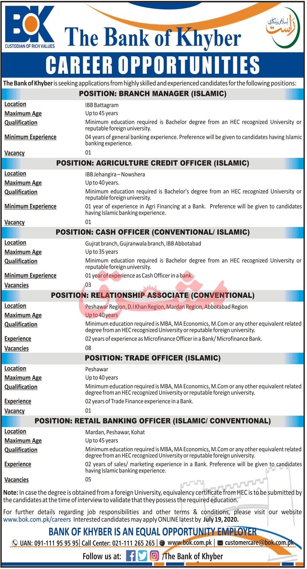 The Bank of Khyber BOK Jobs July 2020