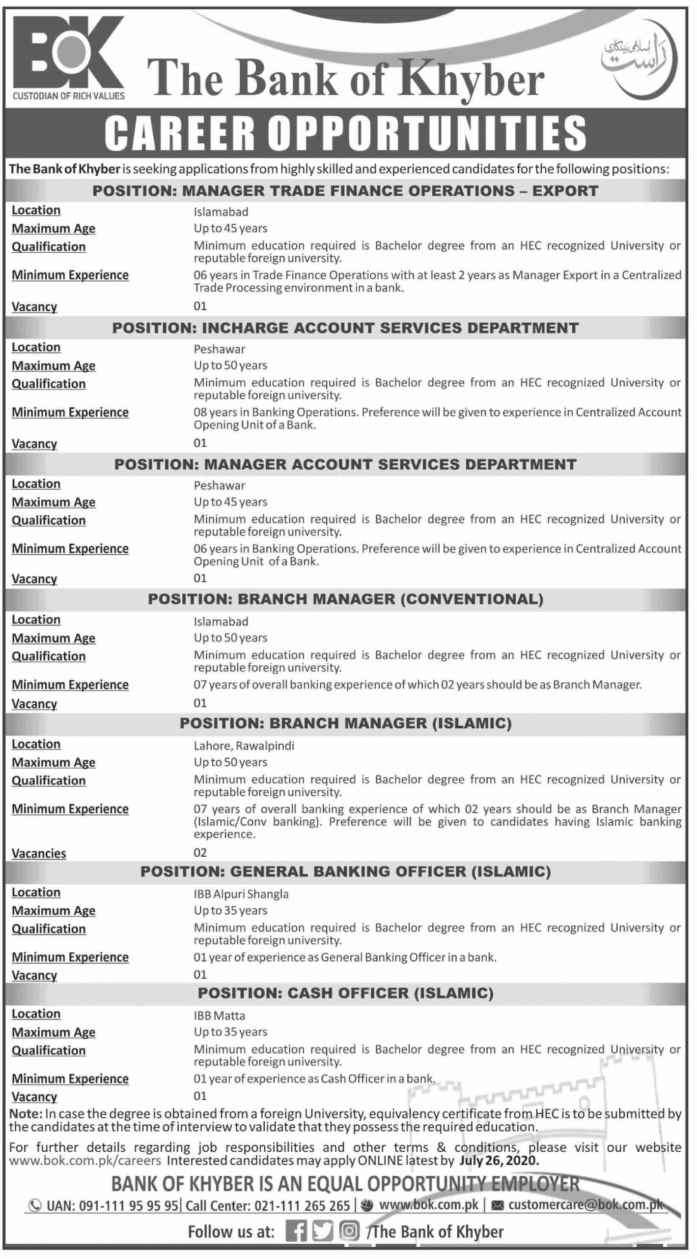 The Bank of Khyber BOK Jobs June 2020