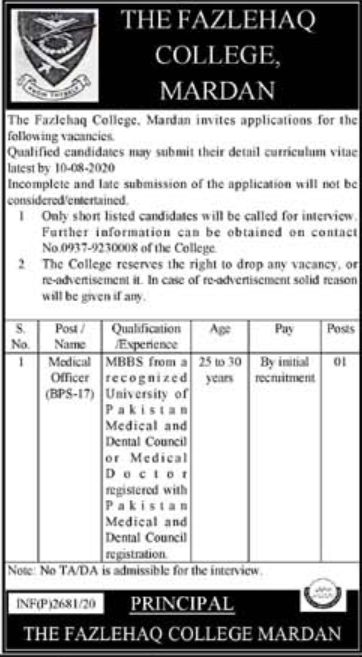 The Fazlehaq College Jobs July 2020