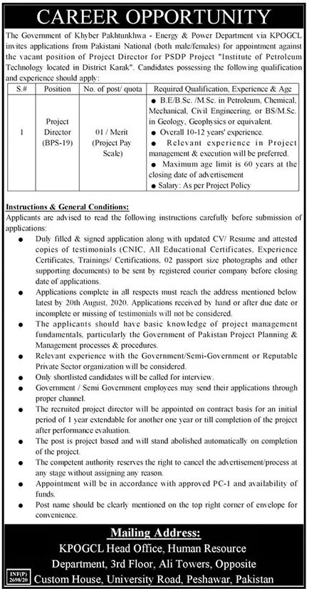 The Government of Khyber Pakhtunkhwa Energy & Power Department KPOGCL Jobs July 2020
