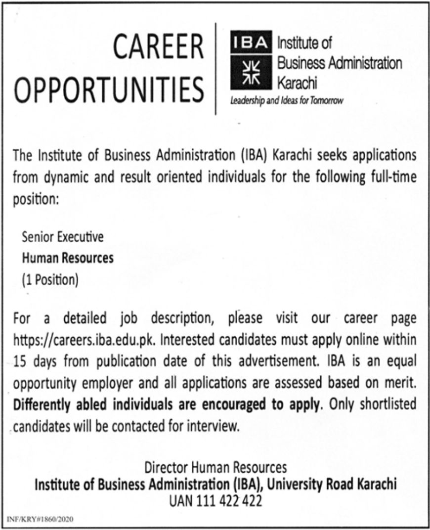 The Institute of Business Administration IBA Karachi Jobs July 2020