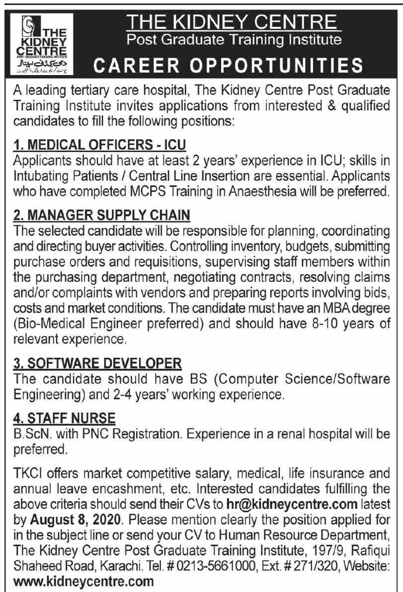 The Kidney Centre Jobs July 2020