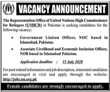 The Representation Office of United Nations High Commissioner for Refugees UNHCR Jobs June 2020