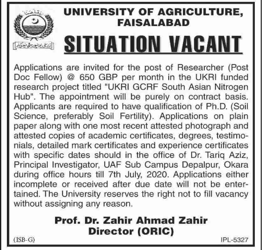 University of Agriculture Jobs June 2020