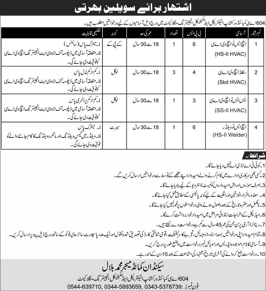 604 AC Combined Workshop Jobs August 2020