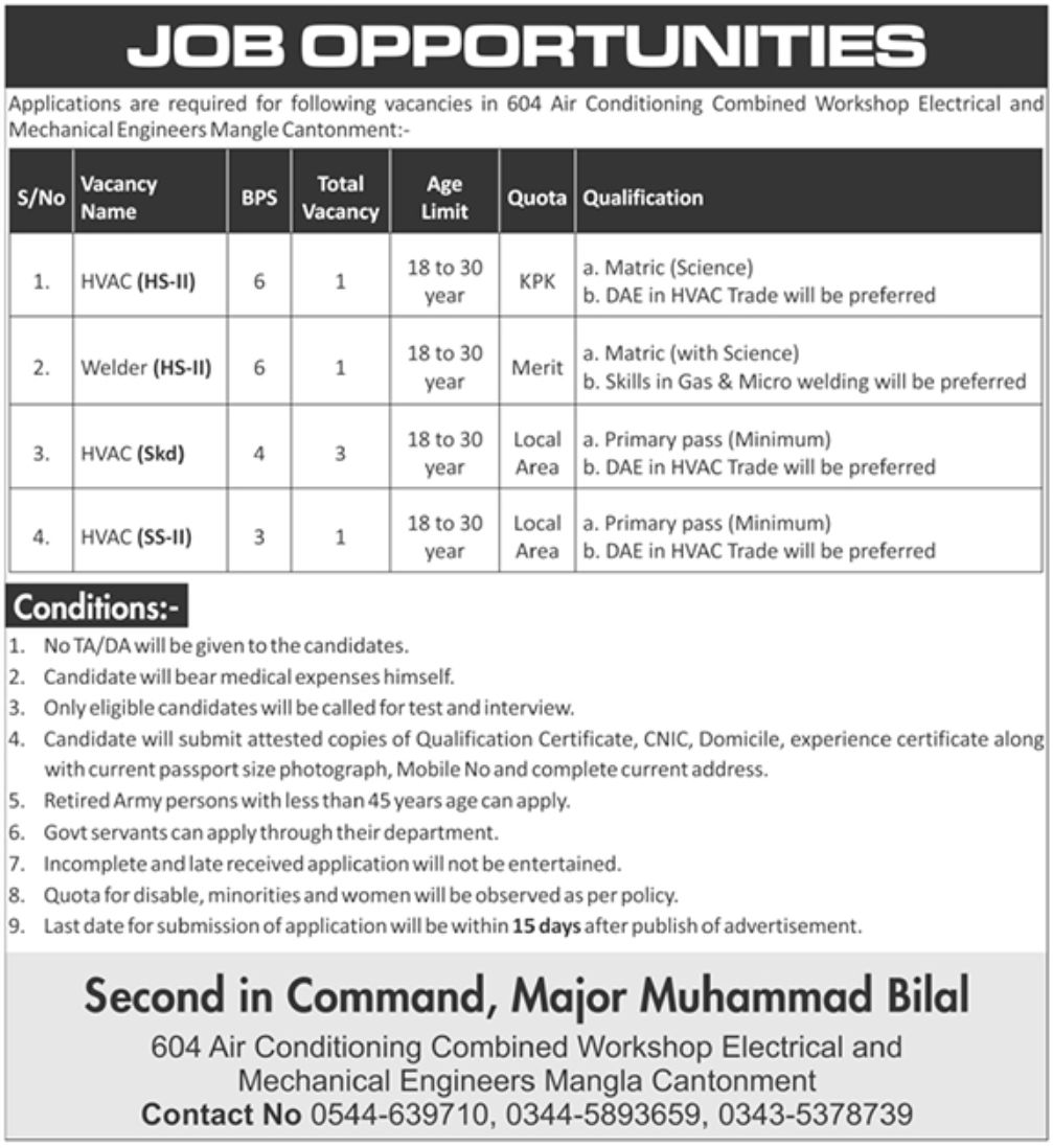 604 Air Conditioning Combined Workshop Electrical and Mechanical Engineers Jobs August 2020