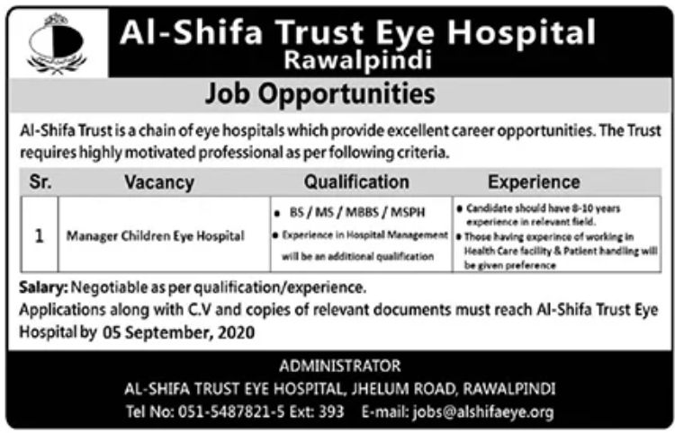 Al Shifa Trust Eye Hospital Jobs August 2020