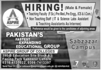 Aspire Group of Colleges Jobs August 2020