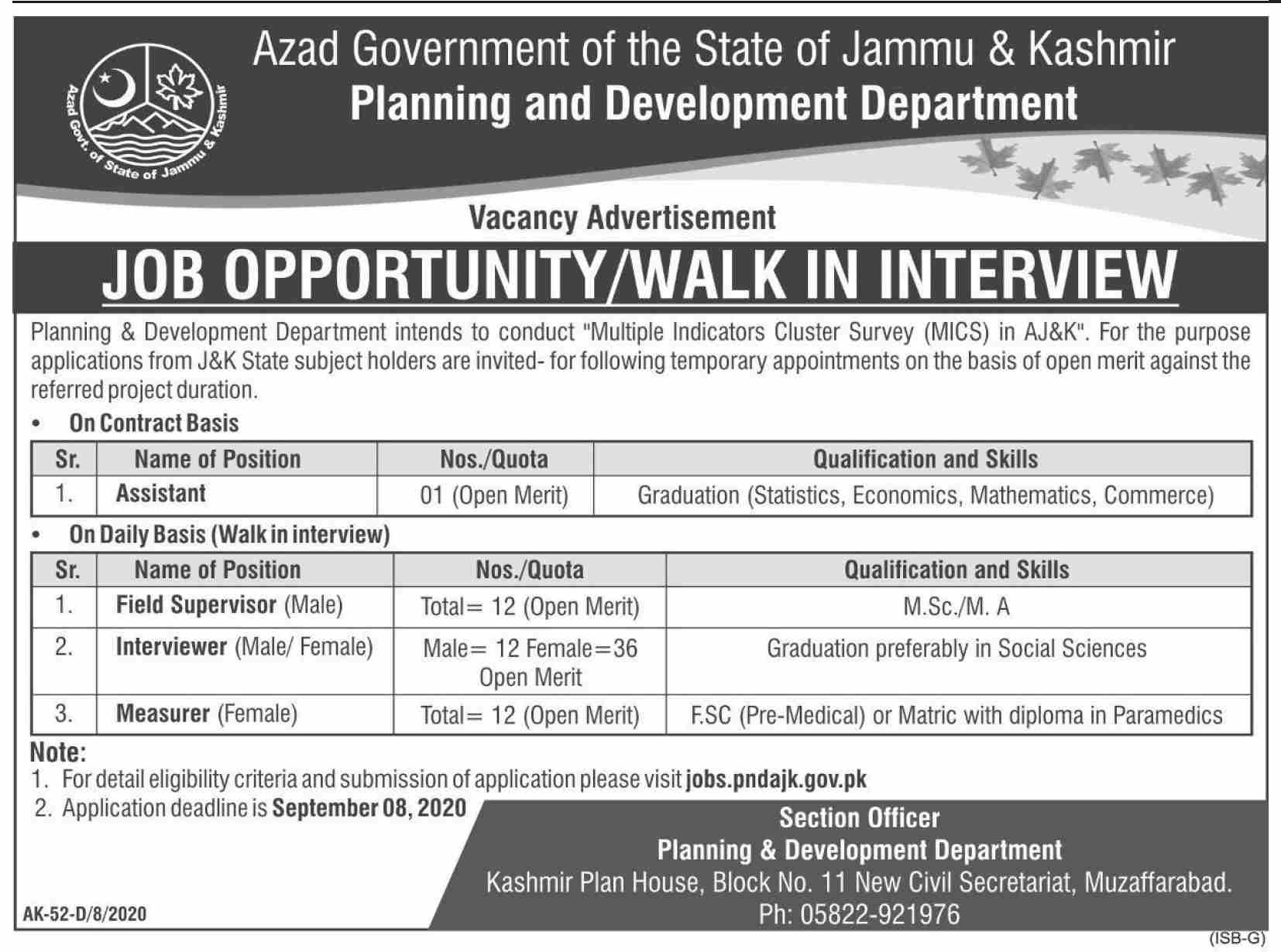 Azad Government of the State of Jammu & Kashmir Planning and Development Department Jobs August 2020