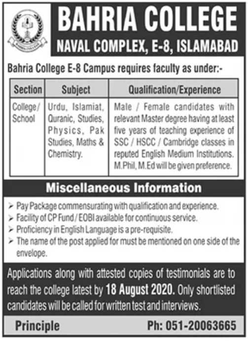 Bahria College Islamabad Jobs August 2020