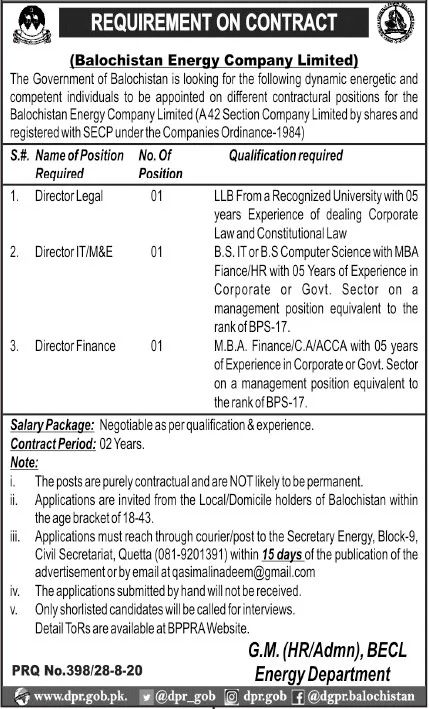 Balochistan Energy Company Limited Jobs August 2020