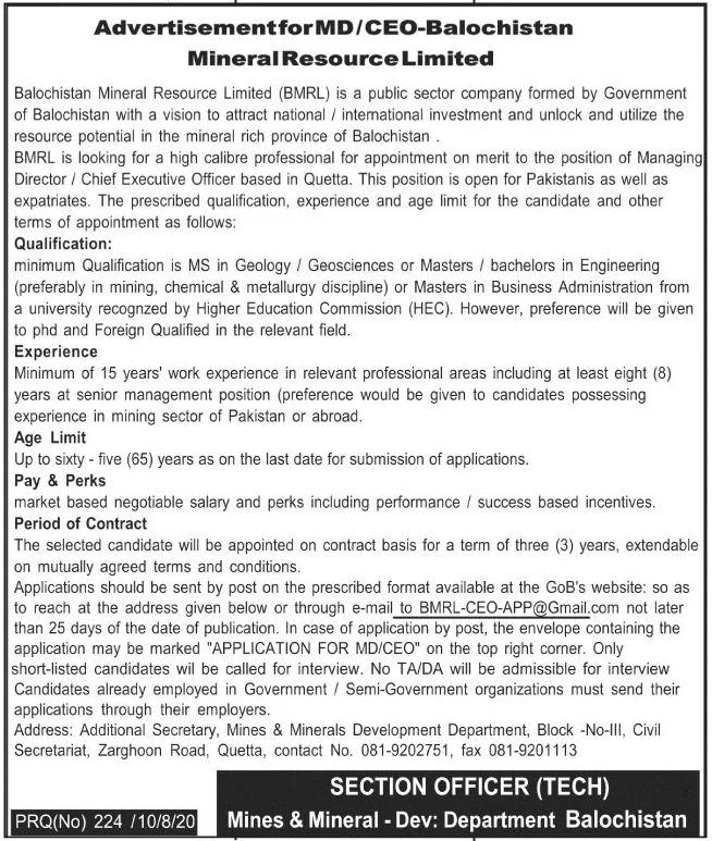 Balochistan Mineral Resource Limited BMRL Jobs August 2020