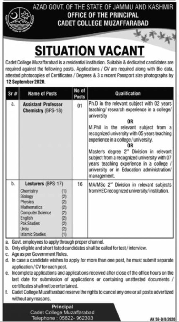 Cadet College Muzaffarabad Jobs August 2020