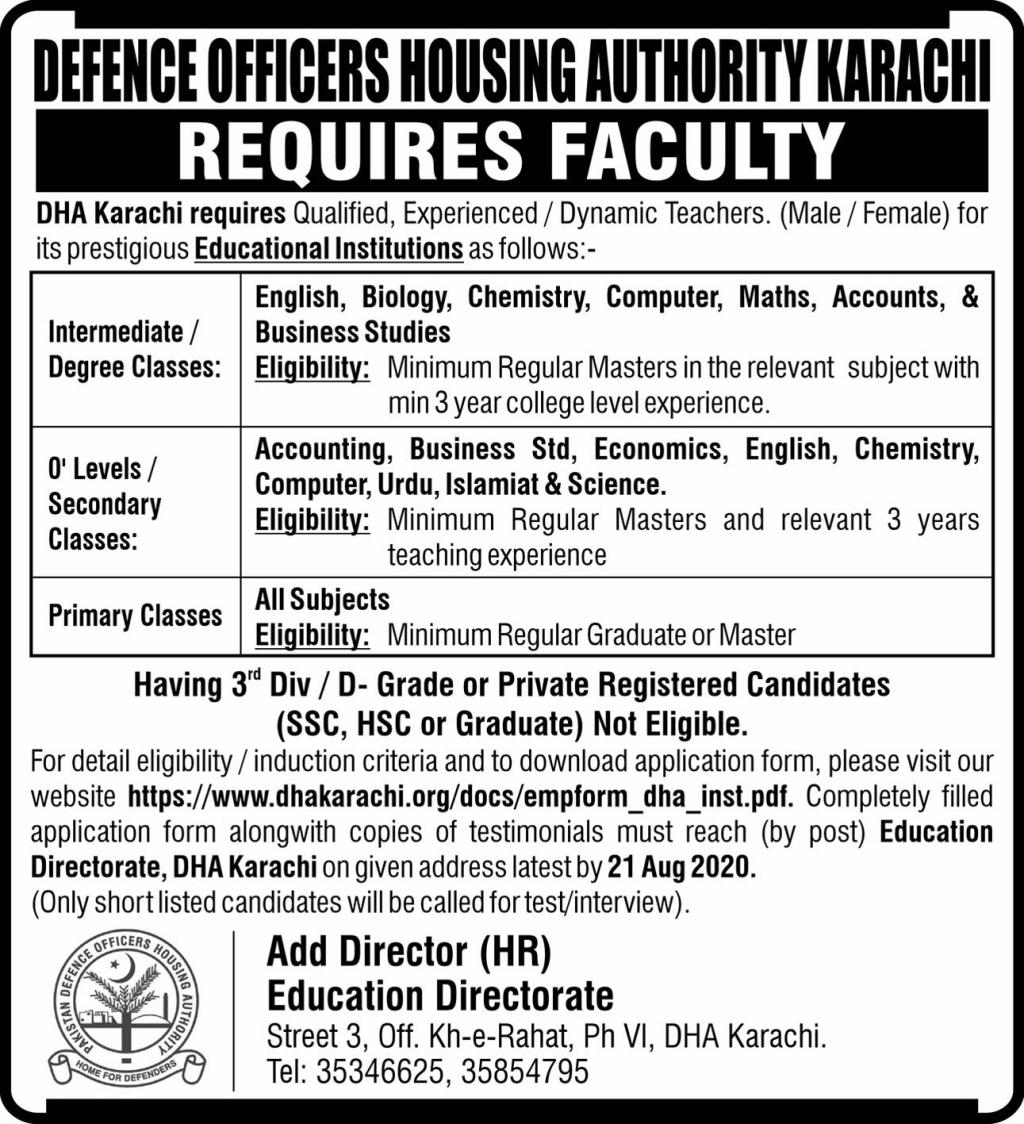 Defence Officers Housing Authority Karachi Jobs August 2020