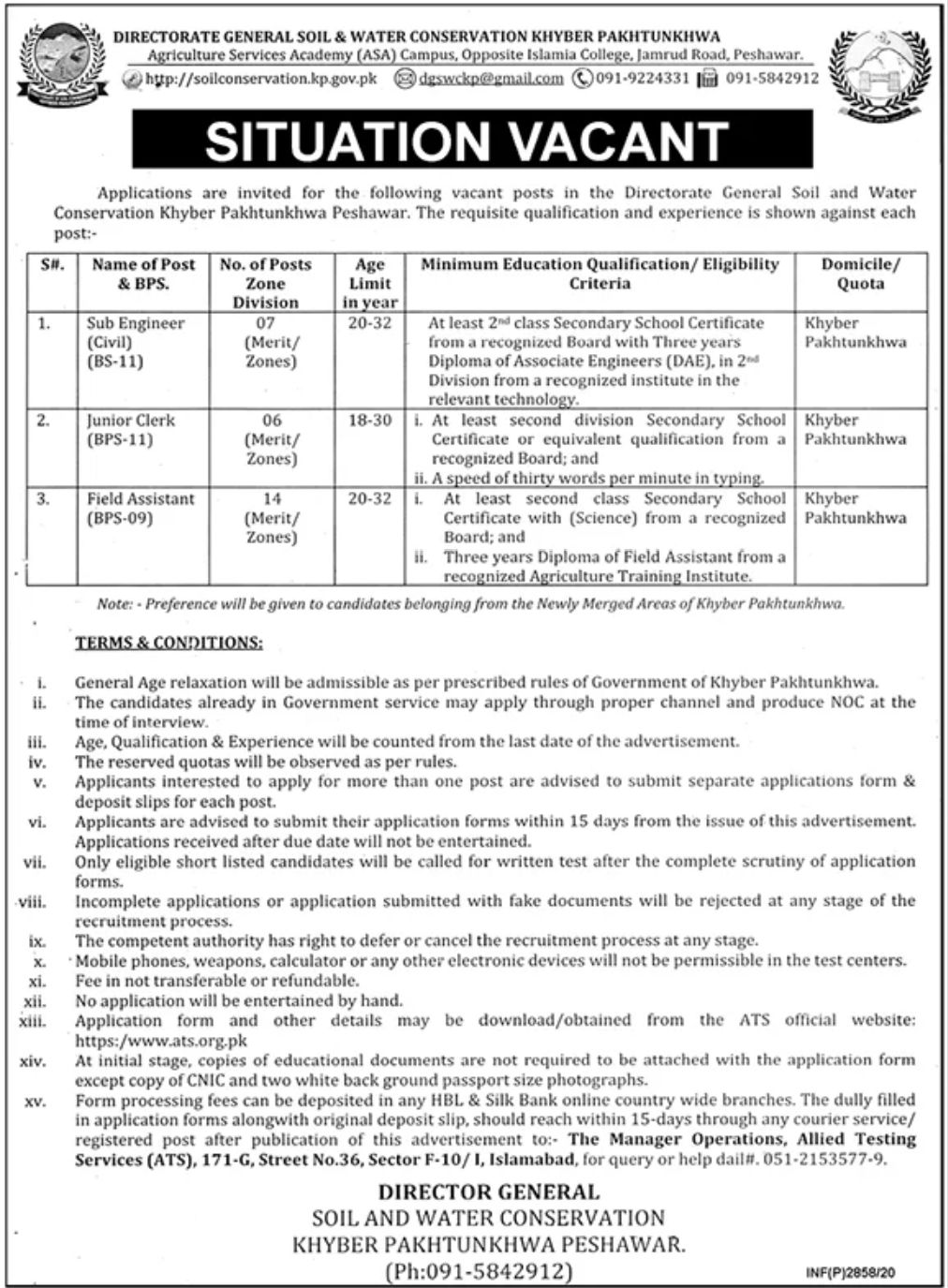 Directorate General Soil & Water Conservation Khyber Pakhtunkhwa Jobs August 2020