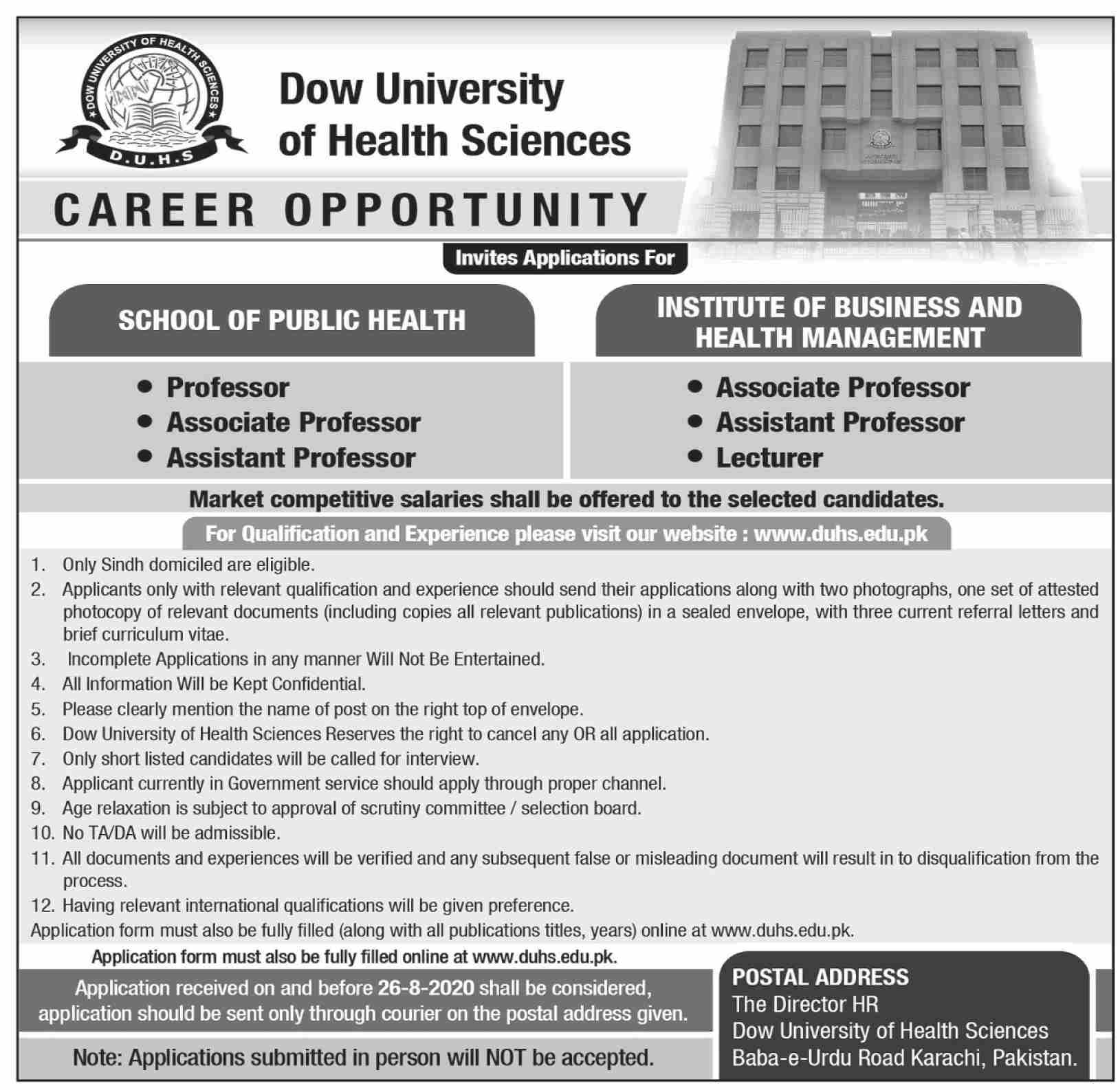 Dow University of Health Sciences Jobs August 2020