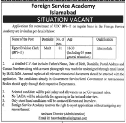 Foreign Service Academy Islamabad Jobs August 2020