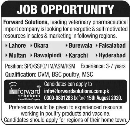 Forward Solutions Leading Veterinary Pharmaceutical Import Company Jobs August 2020