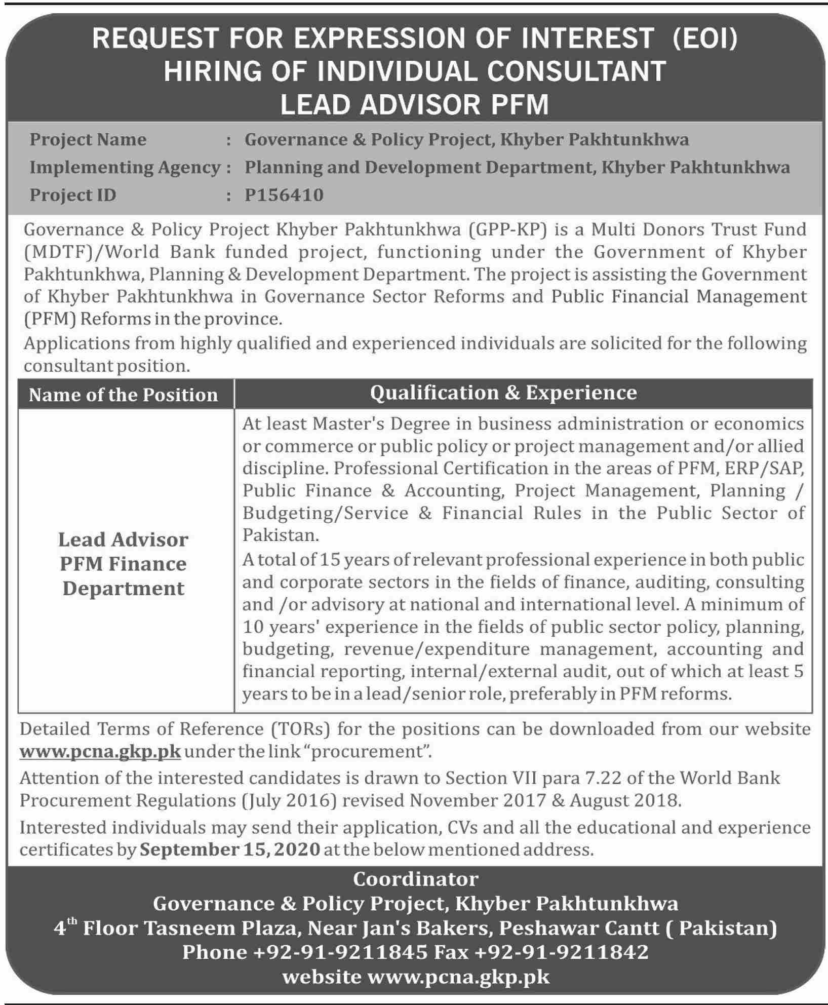 Governance & Policy Project Khyber Pakhtunkhwa Jobs August 2020