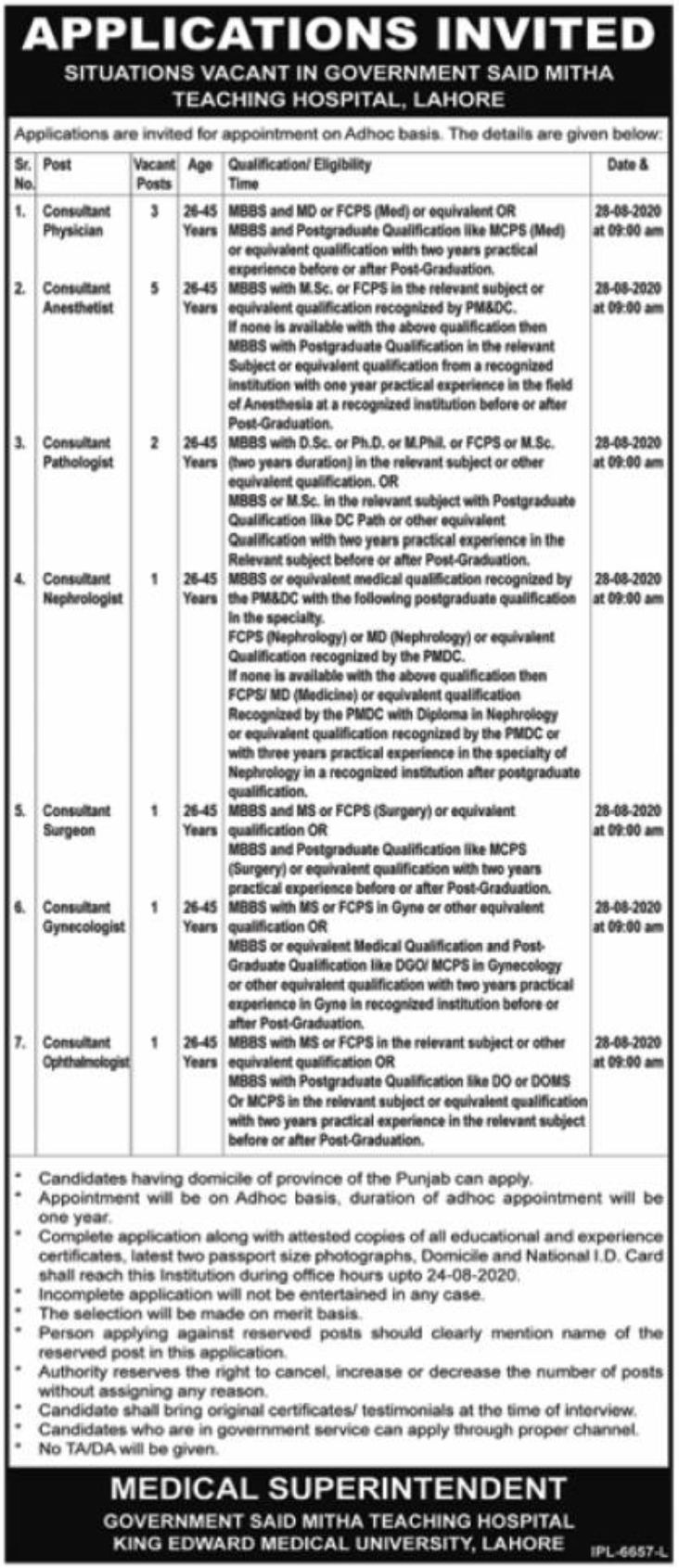 Government Said Mitha Teaching Hospital Lahore Jobs August 2020