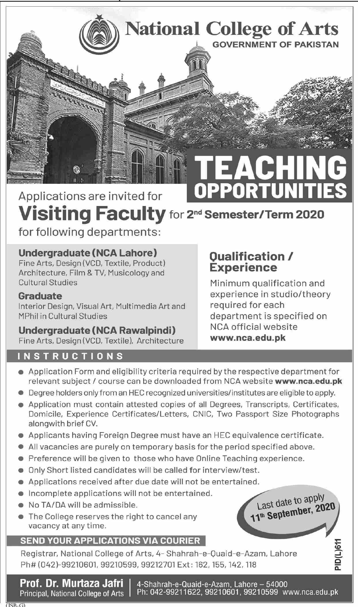 Government of Pakistan National College of Arts Jobs August 2020