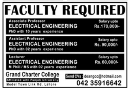 Grand Charter College Jobs August 2020