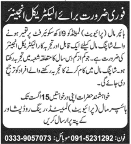 Hyper Mall Pvt Ltd Jobs August 2020