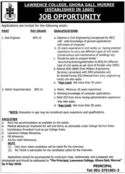 Lawrence College Ghora Gali Murree Jobs August 2020
