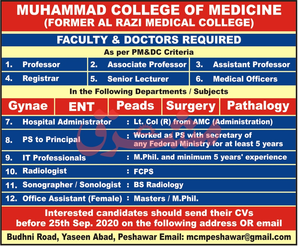 Muhammad College of Medicine Jobs August 2020