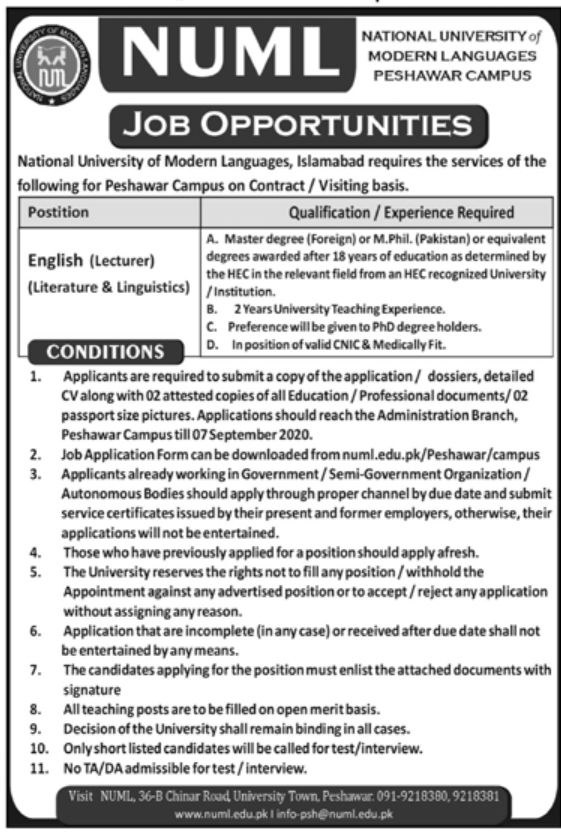 NUML Peshawar Jobs August 2020