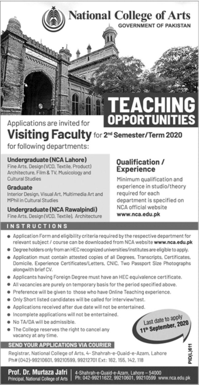 National College of Arts Government of Pakistan Jobs August 2020