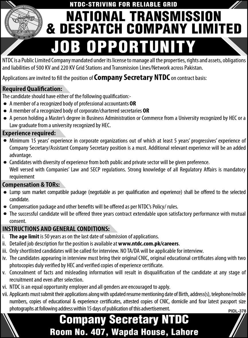 National Transmission & Despatch Company Limited NTDC Jobs August 2020