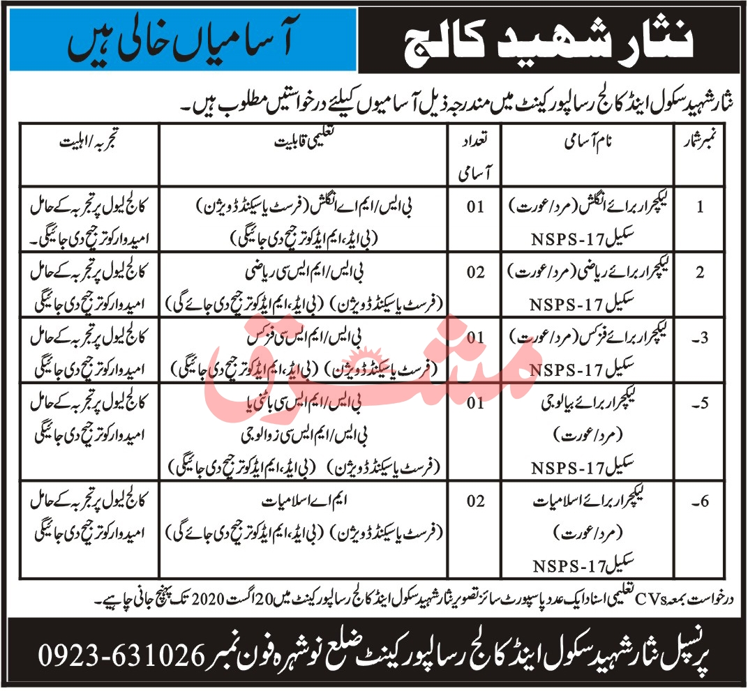 Nisar Shaheed School & College Jobs August 2020