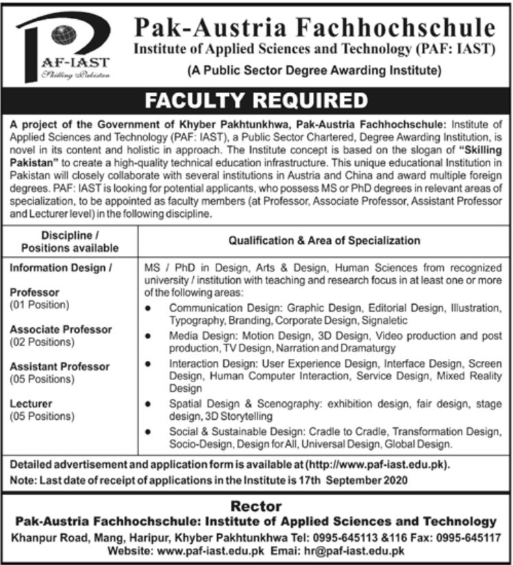 PAF - Institute of Applied Sciences and Technology Jobs August 2020