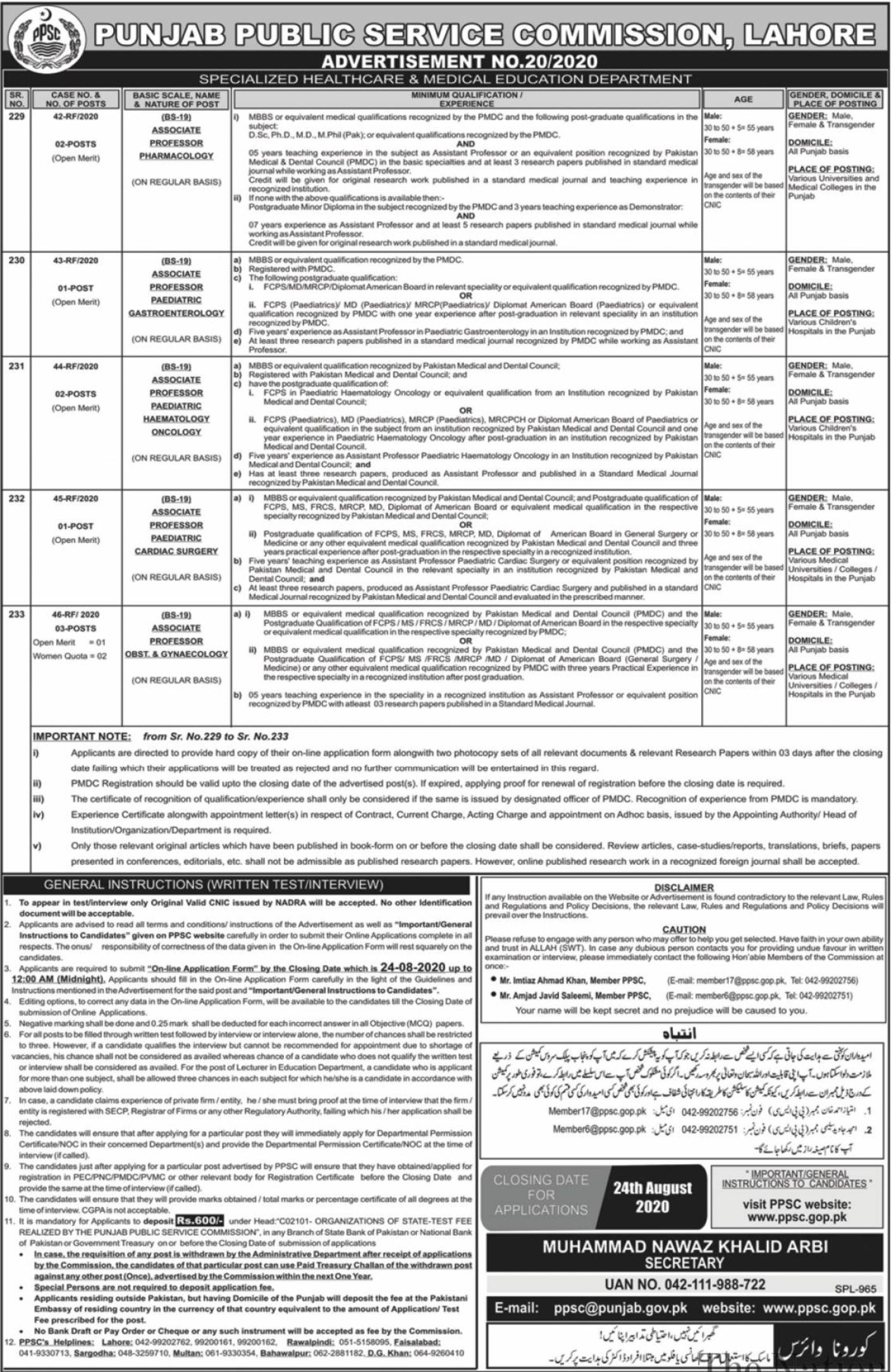 PPSC Jobs August 2020 Latest