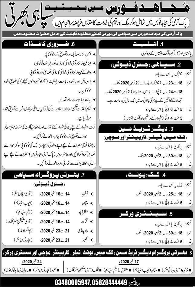 Pak Army Jobs August 2020