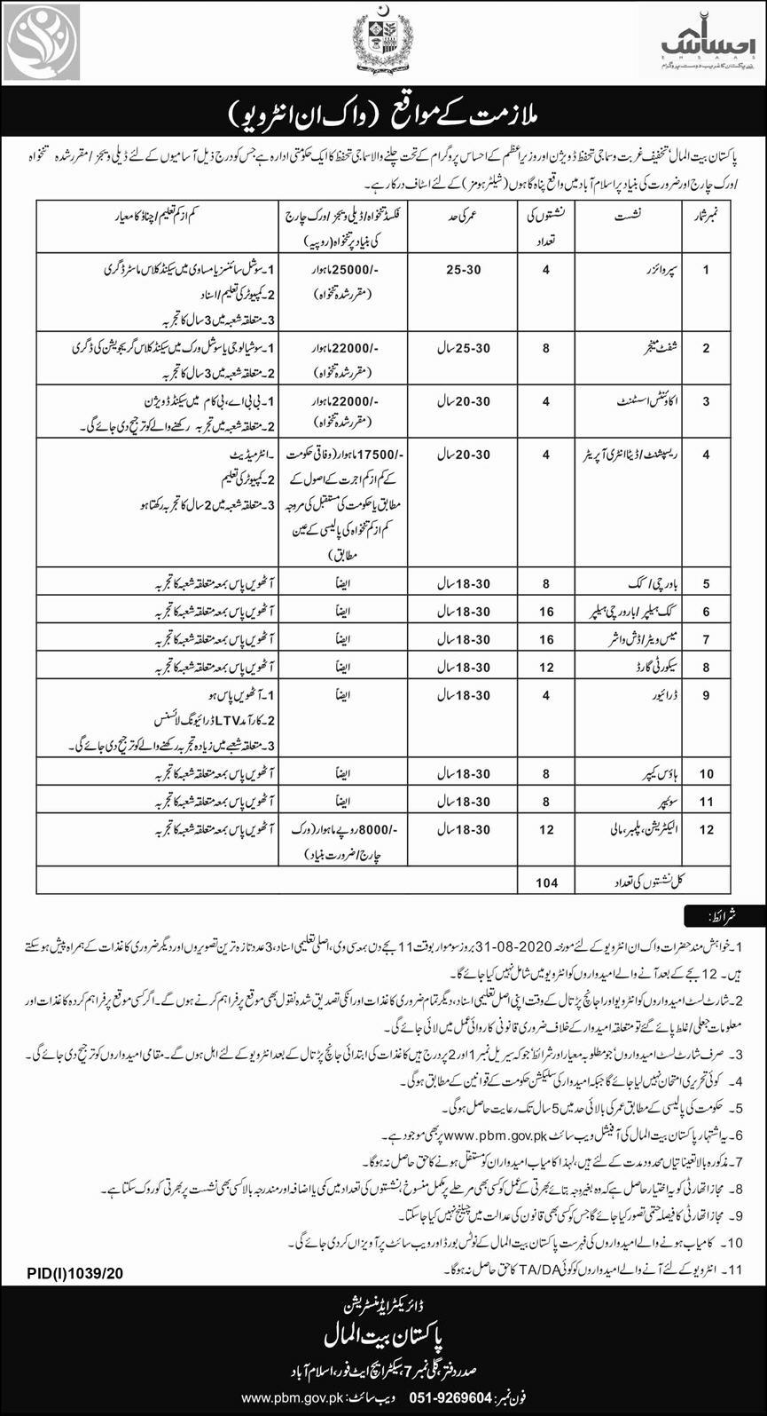 Pakistan Bait ul Mal Jobs August 2020
