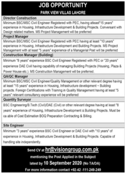 Park View Villas Lahore Jobs August 2020
