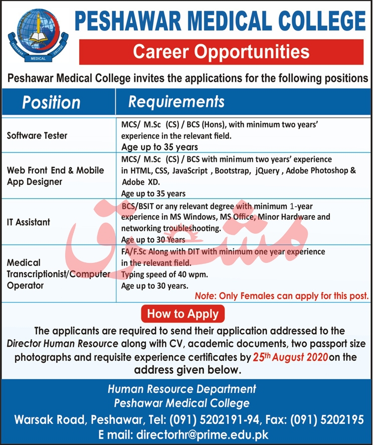 Peshawar Medical College Jobs August 2020